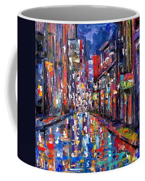 New Orleans Coffee Mug featuring the painting Bourbon Street by Debra Hurd
