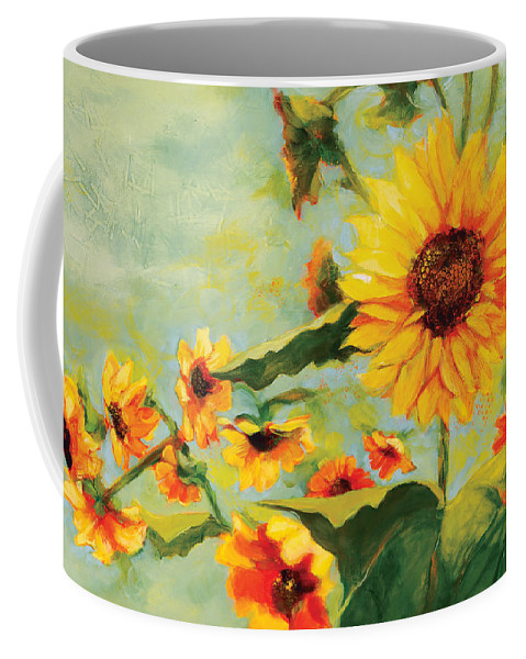Sunflower Coffee Mug featuring the painting Bow Down by Jen Norton
