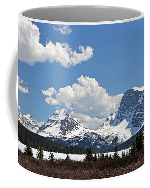Bow Lake Coffee Mug featuring the photograph Bow Lake Vista by Ginny Barklow