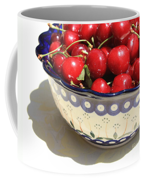 Cherries Coffee Mug featuring the photograph Bowl Of Cherries With Shadow by Carol Groenen