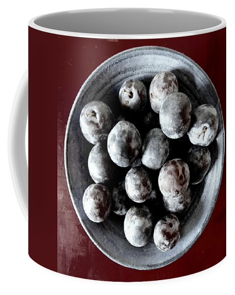 Bowl Coffee Mug featuring the photograph Bowl Of Plums Still Life by Sarah Black