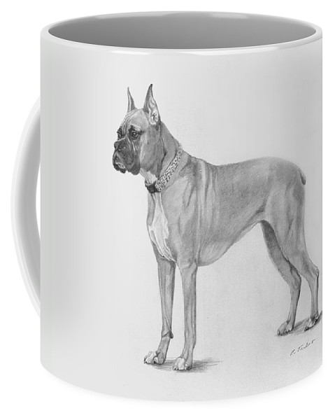 Dog Coffee Mug featuring the drawing Boxer At Attention by Phyllis Tarlow