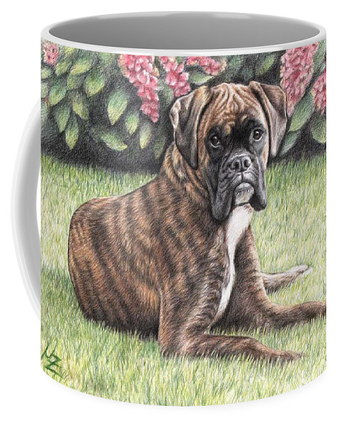 Dog Coffee Mug featuring the drawing Boxer Girl by Nicole Zeug