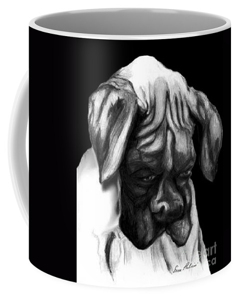 Animals Coffee Mug featuring the painting Boxer Puppy by Portraits By NC
