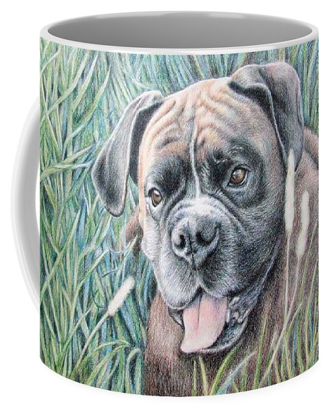 Dog Coffee Mug featuring the drawing Boxer Yosi by Nicole Zeug