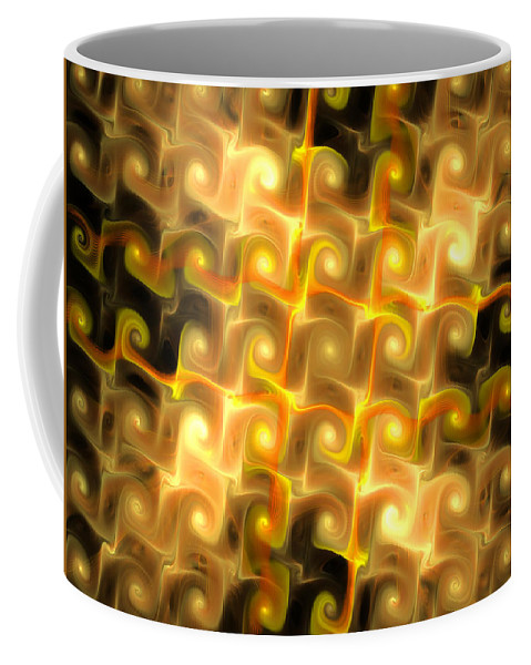 Elena Riim Coffee Mug featuring the digital art Boxes Yellow Art by Elena Riim