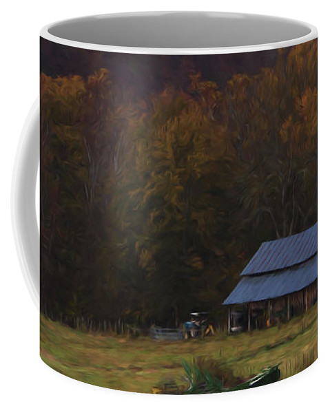 Fall Coffee Mug featuring the painting Boxley Valley Farm by Jonas Wingfield