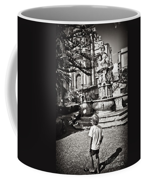 Boy Coffee Mug featuring the photograph Boy At Statue In Sicily by Madeline Ellis
