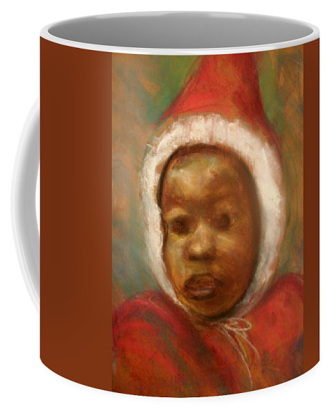 Portrait Coffee Mug featuring the drawing Boy In Red by Jan Gilmore