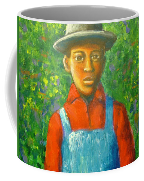 Painting Coffee Mug featuring the painting 'boy In The Woods' by Jan Gilmore