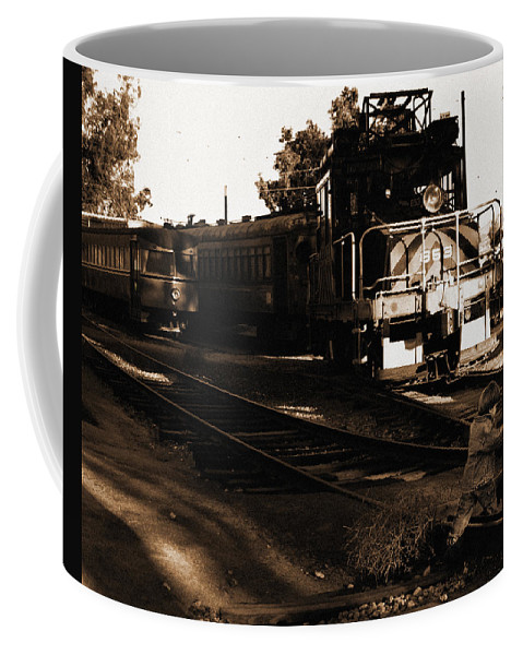 Train Coffee Mug featuring the photograph Boy On The Tracks by Anthony Jones