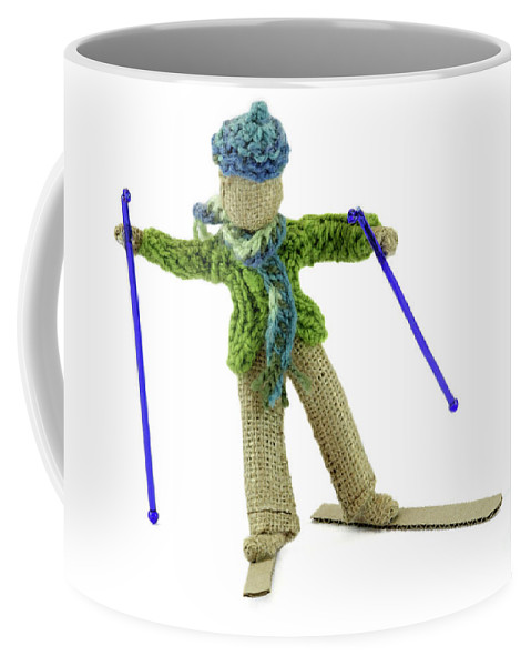 Skier Coffee Mug featuring the photograph Boy Skiing In Burlap Crafts by Daniel Ghioldi
