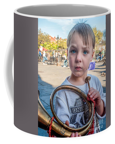 Boy Coffee Mug featuring the photograph Boy With A Horn _ Nola by Kathleen K Parker