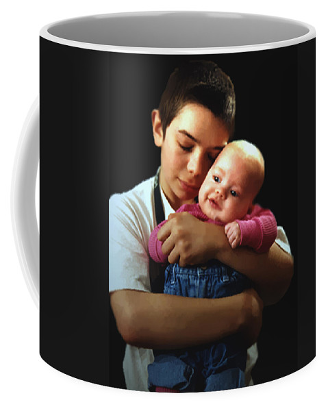 Children Coffee Mug featuring the photograph Boy With Bald-headed Baby by RC DeWinter