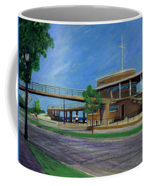 Miexed Media Coffee Mug featuring the mixed media Bradford Beach House by Anita Burgermeister