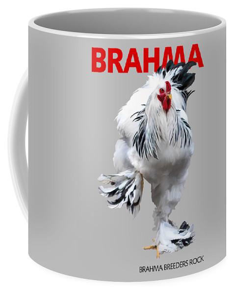 Brahma Coffee Mug featuring the digital art Brahma Breeders Rock RED by Sigrid Van Dort