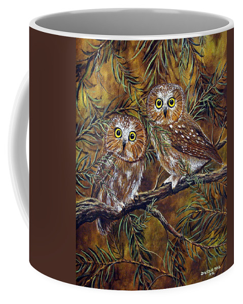 Owls Coffee Mug featuring the painting Branch Buddies by David G Paul