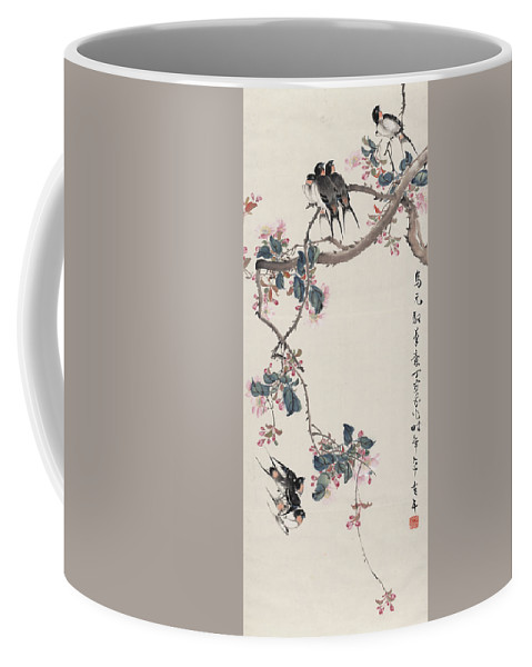 Branch Coffee Mug featuring the painting Branch Magpie Painting by Asian Art