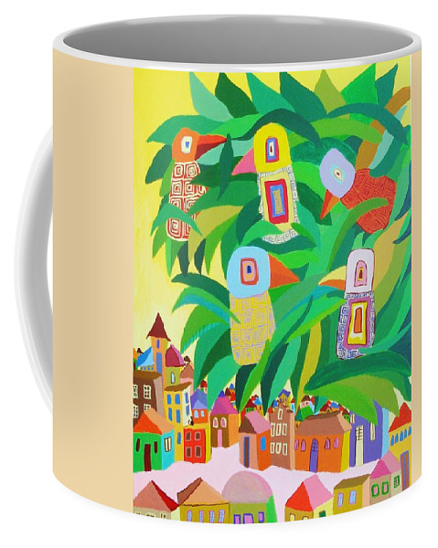 Birdlandscape Paintings Coffee Mug featuring the painting Branch Over The City by Mimi Revencu