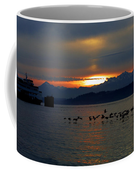 Sunset Coffee Mug featuring the photograph Brants At Sunset by Karen Ulvestad