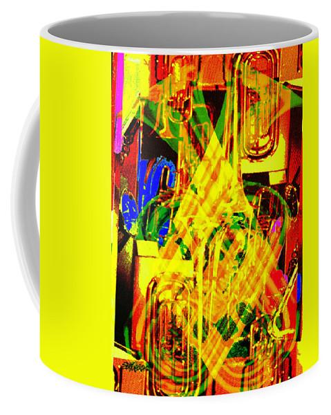Festive Coffee Mug featuring the digital art Brass Attack by Seth Weaver