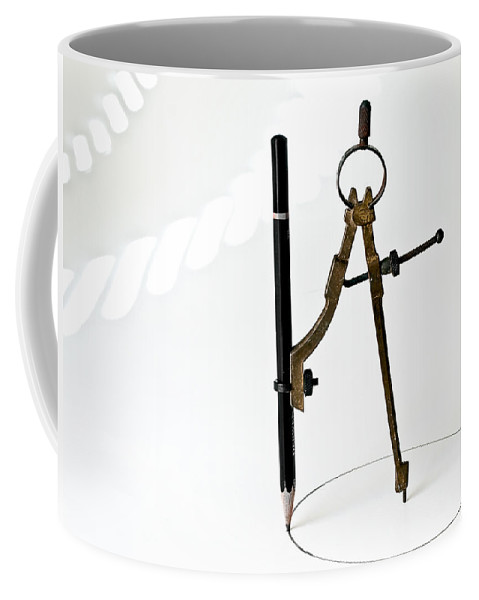 Vintage Coffee Mug featuring the photograph Brass Compass And Pencil by Bob Orsillo