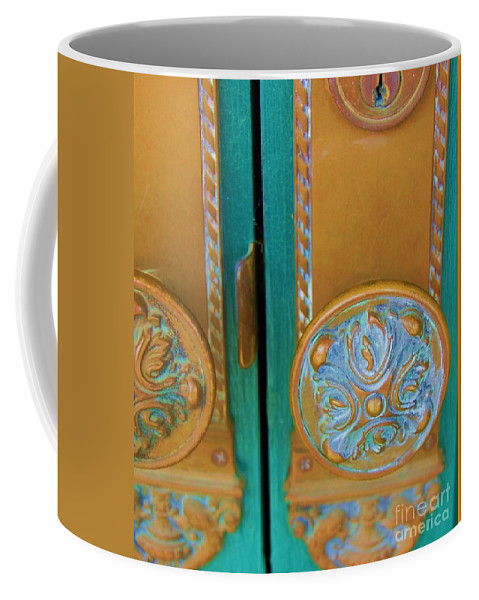 Door Coffee Mug featuring the photograph Brass Is Green by Debbi Granruth