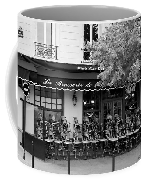 Paris Coffee Mug featuring the photograph Brasserie Early Morning by Mick Burkey