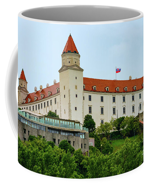 Bratislava Castle Slovakia Castles Tower Towers Fortress Fortresses Little Carpathian Hill Building Buildings Structure Structures City Cities Cityscape Cityscapes Landscape Landscapes Landmark Landmarks Coffee Mug featuring the photograph Bratislava Castle One by Bob Phillips
