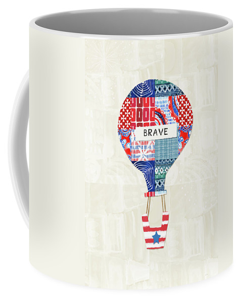 Red Coffee Mug featuring the mixed media Brave Balloon- Art By Linda Woods by Linda Woods
