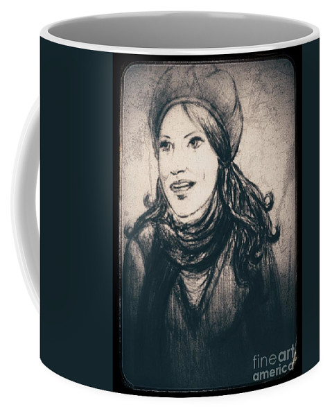 Girl Coffee Mug featuring the drawing Braving The Storm Framed by Joan-Violet Stretch