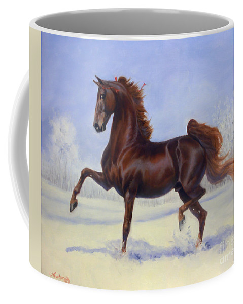 American Saddlebred Coffee Mug featuring the painting Bravo Blue by Jeanne Newton Schoborg