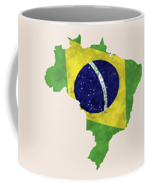 Brazil Coffee Mug featuring the digital art Brazil Map Art With Flag Design by World Art Prints And Designs