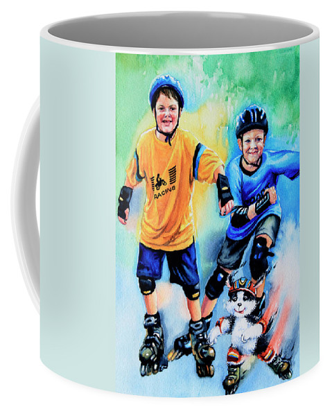 In-line Skating Coffee Mug featuring the painting Break Away by Hanne Lore Koehler