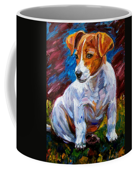 Dog Art Coffee Mug featuring the painting Break Time by Debra Hurd