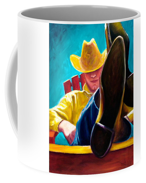 Western Coffee Mug featuring the painting Break Time by Shannon Grissom