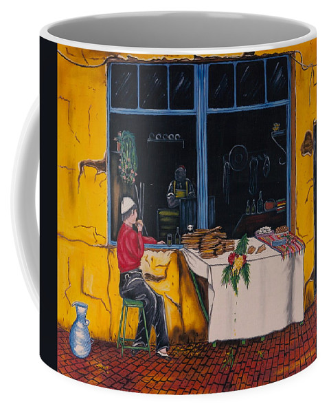 Capri Coffee Mug featuring the painting Breakfast In Capri by V Boge