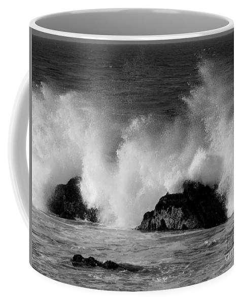 Pacific Grove Coffee Mug featuring the photograph Breaking Wave At Pacific Grove by James B Toy