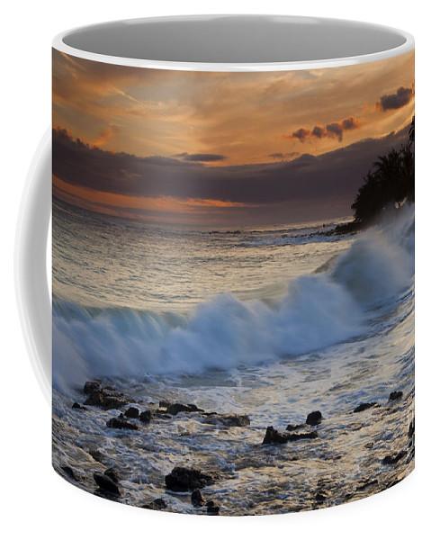 Brennecke Beach Coffee Mug featuring the photograph Brennecke Waves Sunset by Mike Dawson