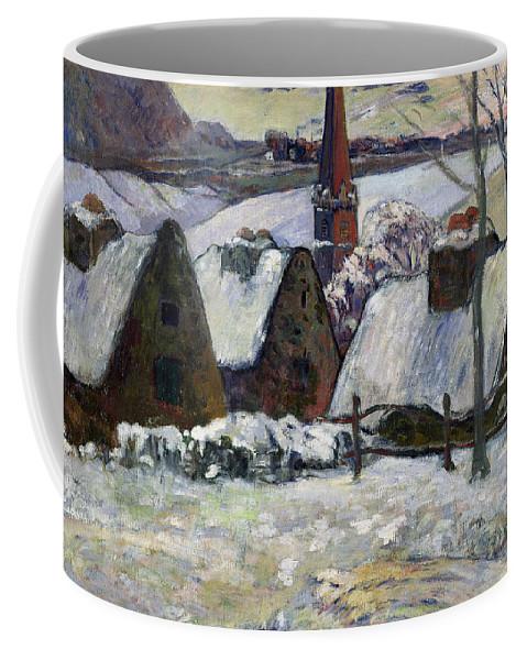 Breton Village Under Snow Coffee Mug featuring the painting Breton Village Under Snow by Paul Gauguin