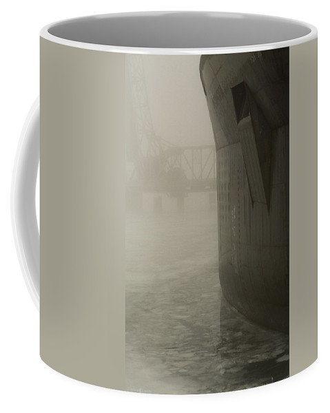 Water Coffee Mug featuring the photograph Bridge And Barge by Tim Nyberg