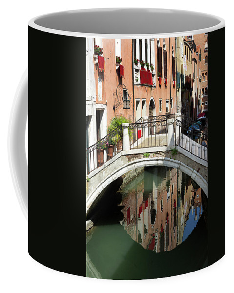 Venice Coffee Mug featuring the photograph Bridge And Reflection Venice, Italy by Bruce Beck