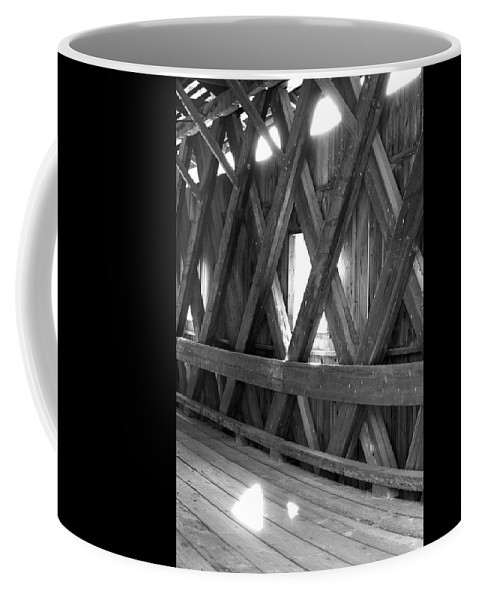 Covered Bridge Coffee Mug featuring the photograph Bridge Glow by Greg Fortier