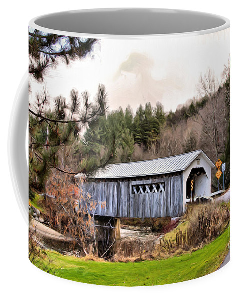 Covered Coffee Mug featuring the mixed media Bridge In Montgomery by Deborah Benoit