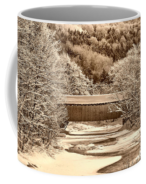 Coveredbridge Coffee Mug featuring the photograph Bridge In Sepia by Deborah Benoit