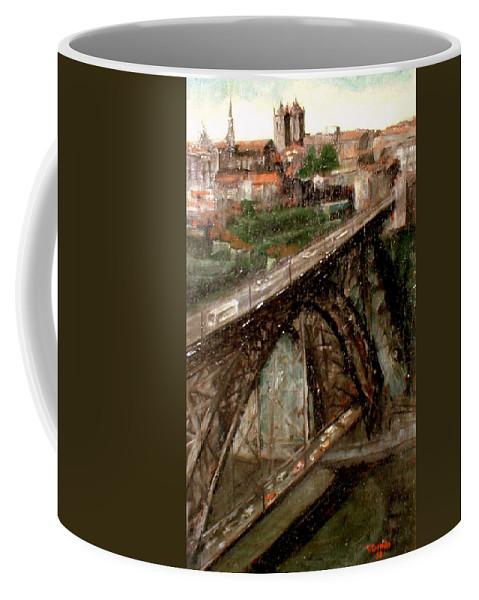 Porto Coffee Mug featuring the painting Bridge Luis I-Oporto by Tomas Castano