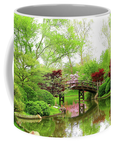 Print On Canvas Coffee Mug featuring the painting Bridge Over Calm Waters by Susanna Katherine