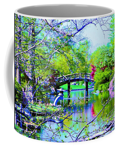 Canvas Print Coffee Mug featuring the painting Bridge Over Peaceful Waters by Susanna Katherine