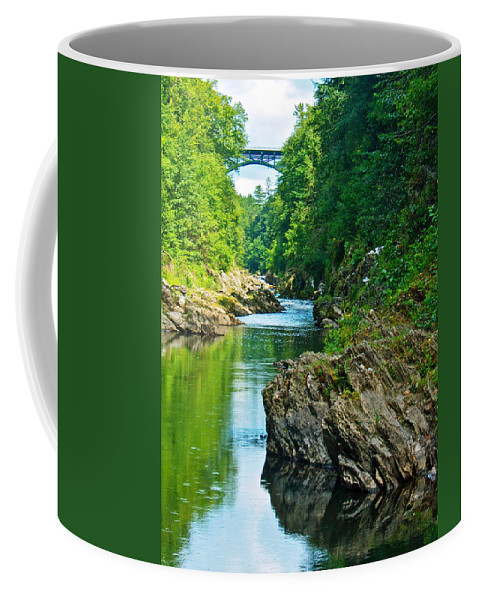 Bridge Over Quiche Gorge Coffee Mug featuring the photograph Bridge Over Quechee Gorge-vermont by Ruth Hager
