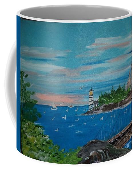Acrylic Coffee Mug featuring the painting Bridge Scene by Donald Northup